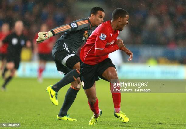 Cardiff City's Frazier Campbell is fouled by Swansea City keeper Michel Vorm during the Barclays Premier League match at Cardiff City Stadium Cardiff