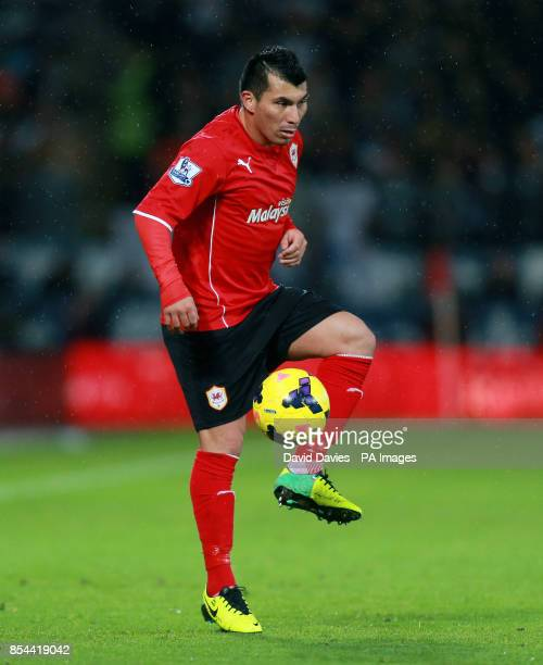 Cardiff City's Gary Medel during the Barclays Premier League match at Cardiff City Stadium Cardiff