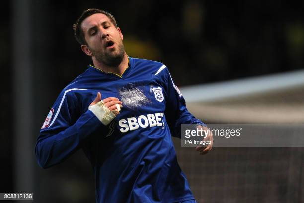 Cardiff City's goalscorer Jon Parkin misses a chance in front of goal during the npower Championship match at Carrow Road Norwich