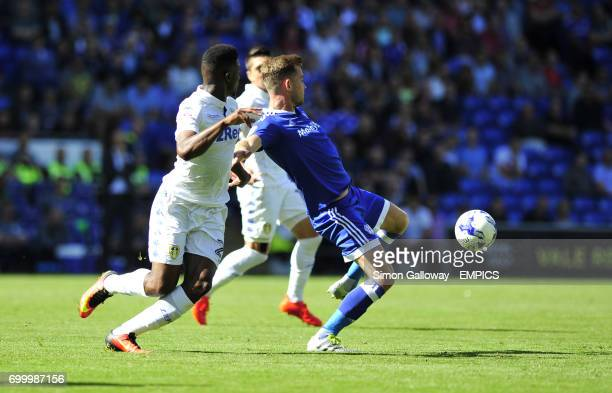 Cardiff City's Joe Ralls and Leeds United's Hadi Sacko in action