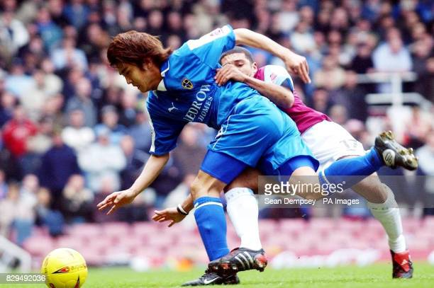 Cardiff City's Junichi Inamoto in action against West Ham United's Hayden Mullins