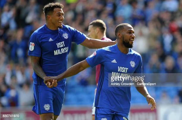 CELE Cardiff City's Junior Hoilett celebrates scoring his sides second goal during the Sky Bet Championship match between Cardiff City and Aston...