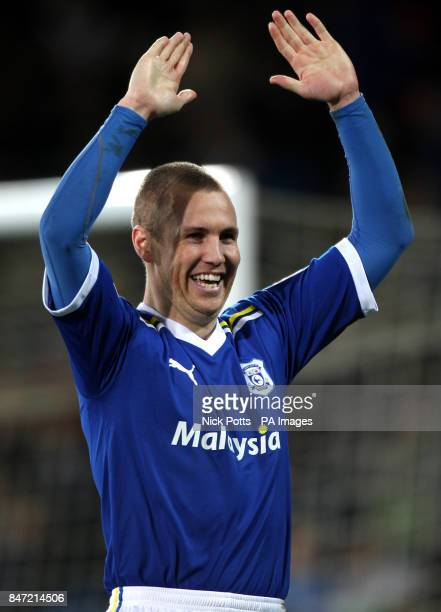 Cardiff City's Kenny Miller celebrates the opening goal scored by Peter Whittingham direct from a corner