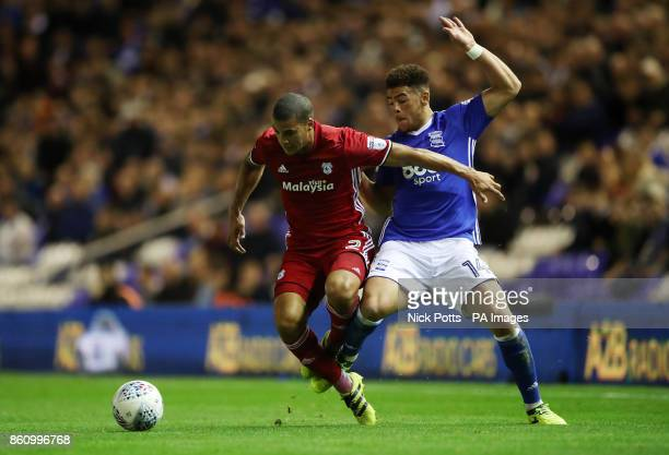 Cardiff City's Lee Peltier and Birmingham City's Che Adams battle for the ball during the Sky Bet Championship match St Andrew's Birmingham