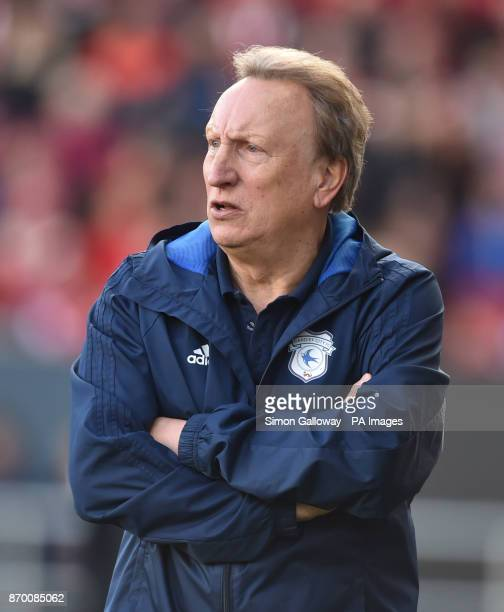 Cardiff City's manager Neil Warnock during the Sky Bet Championship match at Ashton Gate Bristol
