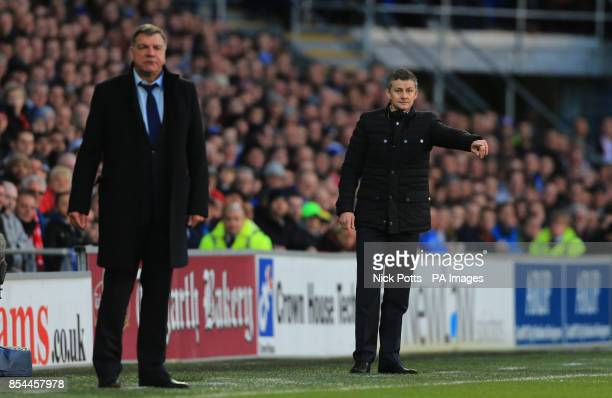 Cardiff City's manager Ole Gunnar Solskjaer and West Ham United's manager Sam Allardyce during the Barclays Premier League match at Cardiff City...