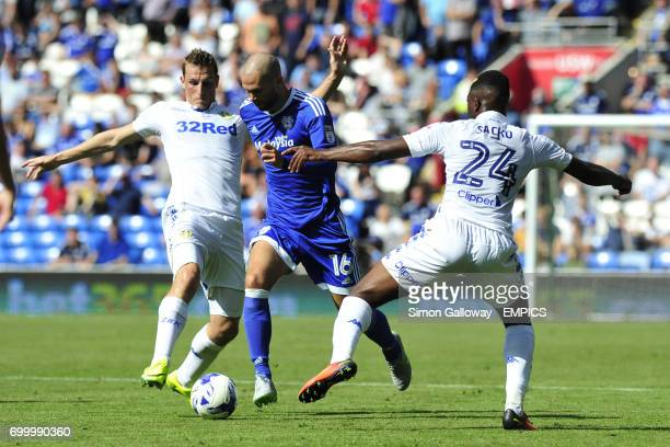 Cardiff City's Matthew Connolly and Leeds United's Hadi Sacko in action