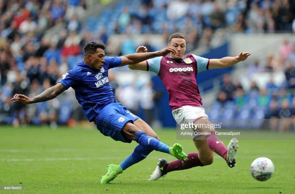 Cardiff City's Nathaniel Mendez-Laing has a shoot at goal during the Sky Bet Championship match between Cardiff City and Aston Villa at Cardiff City Stadium on August 12, 2017 in Cardiff, Wales.