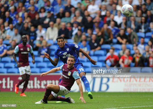 GOAL Cardiff City's Nathaniel MendezLaing scores his during the Sky Bet Championship match between Cardiff City and Aston Villa at Cardiff City...