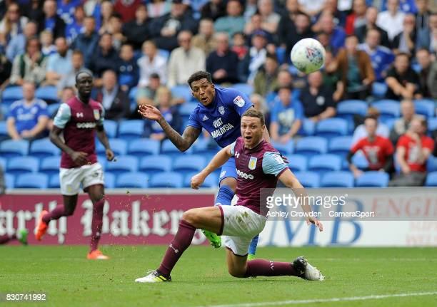 GOAL Cardiff City's Nathaniel MendezLaing scores his sides third goal during the Sky Bet Championship match between Cardiff City and Aston Villa at...