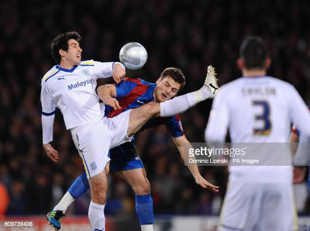 Cardiff City's Peter Whittingham and Crystal Palace's Chris Martin battle for the ball during the Carling Cup Semi Final First Leg match at Selhurst...