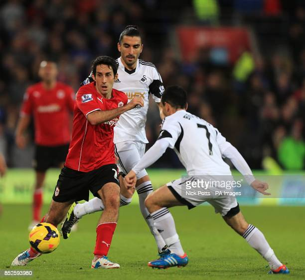 Cardiff City's Peter Whittingham and Swansea City's Leon Britton battle for the ball