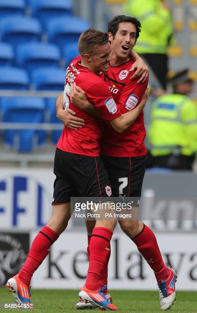 Cardiff City's Peter Whittingham celebrates scoring his second goal with Craig Noone during the npower Football League Championship match at the...