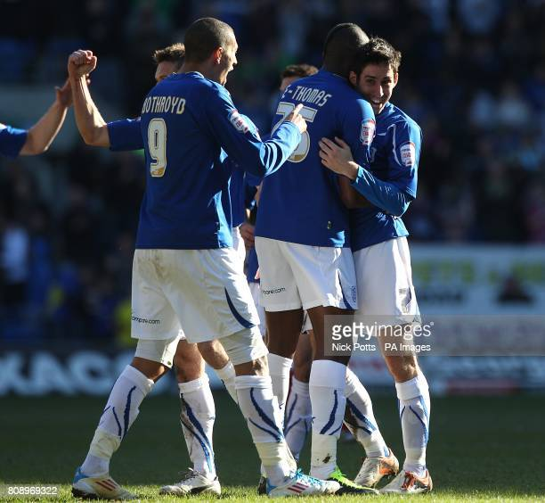 Cardiff City's Peter Whittingham celebrates scoring his side's first goal of the game with teammates