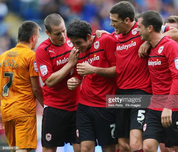 Cardiff City's Peter Whittingham celebrates scoring his third goal with teammates during the npower Football League Championship match at the Cardiff...