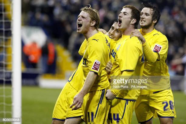 Cardiff City's Peter Whittingham celebrates with his team mates Chris Burke Ross McCormack and Aaron Wildig after scoring the second goal from the...