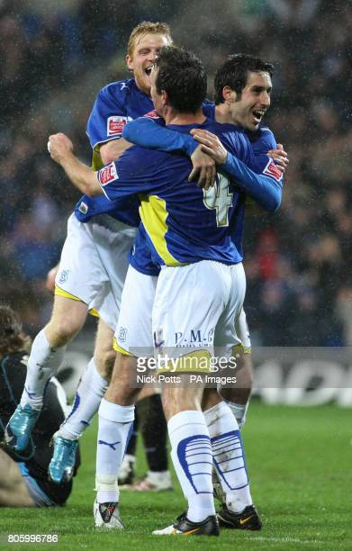 CROP* Cardiff City's Peter Whittingham celebrates with teammate Gavin Rae after scoring the his side second goal during the CocaCola Championship...