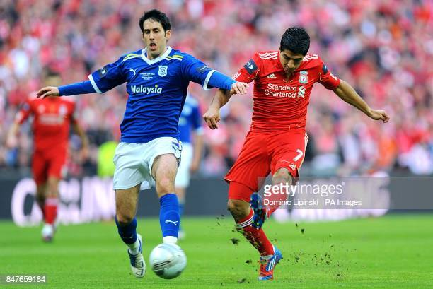 Cardiff City's Peter Whittingham closes down Liverpool's Luis Suarez as he tries a shot on goal