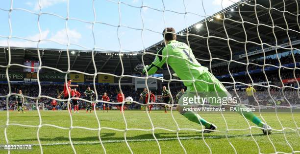 Cardiff City's Peter Whittingham scores his side's first goal of the game from the penalty spot during the Barclays Premier League match at the...