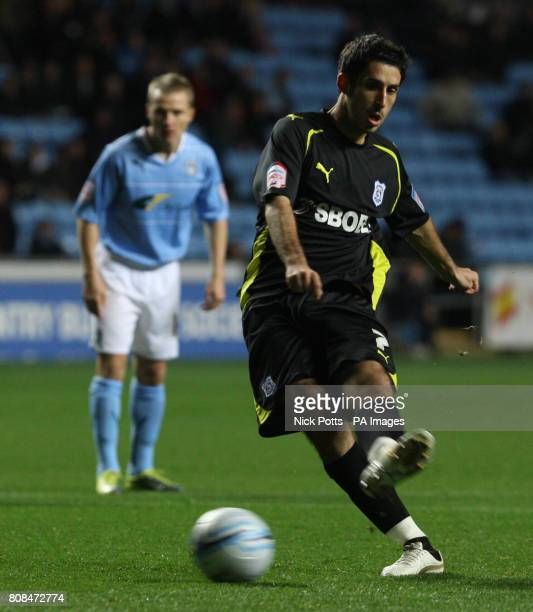 Cardiff City's Peter Whittingham scores the opening goal from penalty spot during the npower Championship match at the Ricoh Arena Coventry