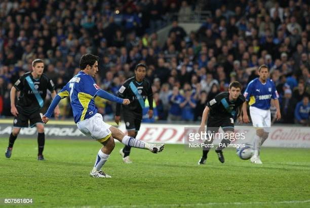 Cardiff City's Peter Whittingham scores their second goal from the penalty spot