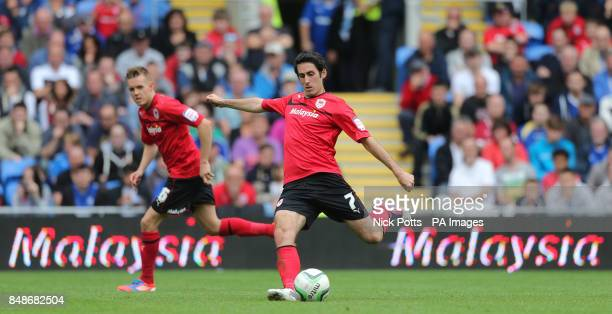 Cardiff City's Peter Whittingham shoots at goal with Craig Noone