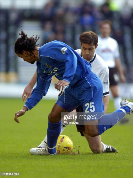 Cardiff City's Richard Langley and Derby County's Marco Reich in action during the Nationwide Division One match at Pride Park Derby THIS PICTURE CAN...