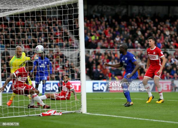 Cardiff City's Sol Bamba see's his header cleared off the line by Middlesbrough's Britt Assombalonga during the Sky Bet Championship match at the...