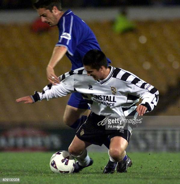Cardiff City's Willie Bowland tackles Port Vale's Stephen McPhee during the Nationwide Division Two match at Vale Park StokeonTrent THIS PICTURE CAN...