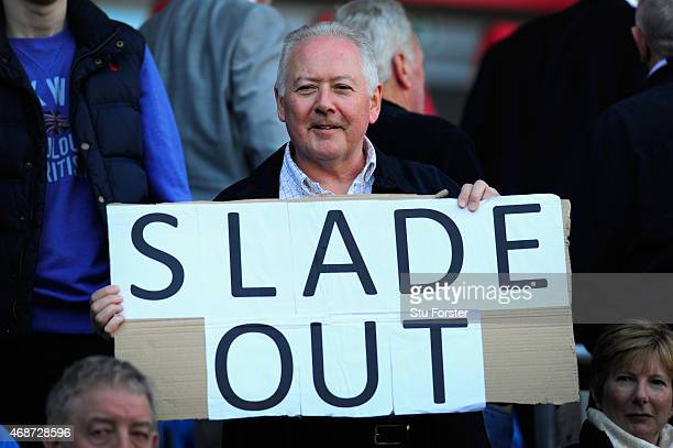 Cardiff fan shows his feelings via cardboard before the Sky Bet Championship match between Cardiff City and Bolton Wanderers at Cardiff City Stadium...