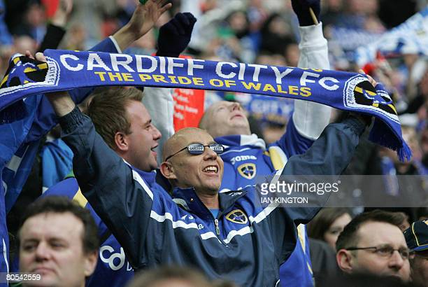 Cardiff football team fans cheer during the FA Cup Semi Final match at Wembley Stadium between Barnsley and Cardiff City in London on April 6 2008...