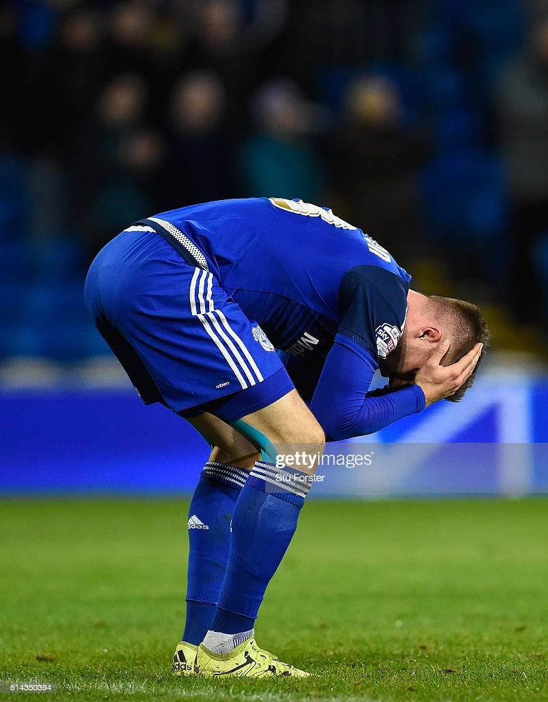 Cardiff forward <a gi-track='captionPersonalityLinkClicked' href=/galleries/search?phrase=Anthony+Pilkington&family=editorial&specificpeople=5359752 ng-click='$event.stopPropagation()'>Anthony Pilkington</a> reacts after the Sky Bet Championship match between Cardiff City and Leeds United at Cardiff City Stadium on March 8, 2016 in Cardiff, United Kingdom.