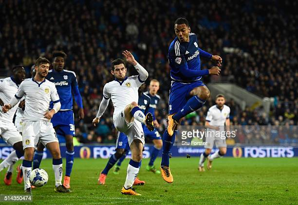 Cardiff forward Kenneth Zohore has a chance at goal during the Sky Bet Championship match between Cardiff City and Leeds United at Cardiff City...