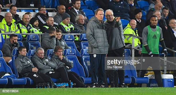 Cardiff manager Neil Warnock and assistant Kevin Blackwell look on during the Sky Bet Championship match between Cardiff City and Wolverhampton...