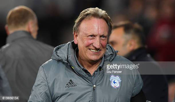 Cardiff manager Neil Warnock raises a smile before the Sky Bet Championship match between Cardiff City and Sheffield Wednesday at Cardiff City...