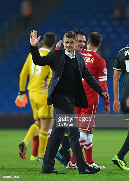 Cardiff manager Ole Gunnar Solskjaer waves to the fans after defeat in the Sky Bet Championship match between Cardiff City and Middlesbrough at...
