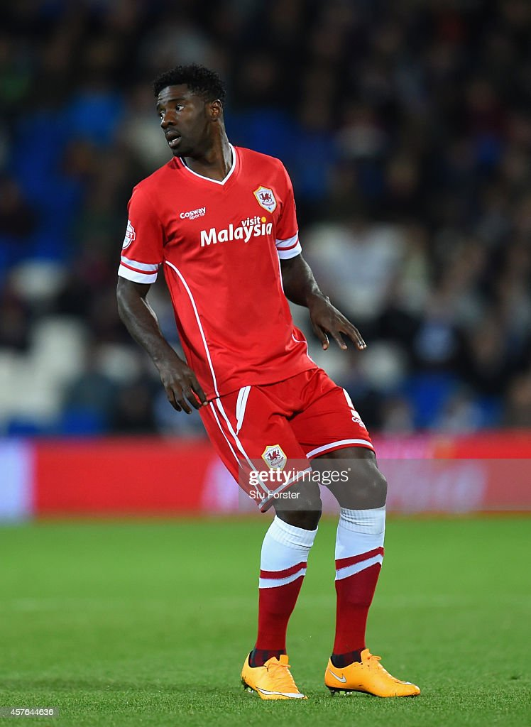 Cardiff player <a gi-track='captionPersonalityLinkClicked' href=/galleries/search?phrase=Bruno+Ecuele+Manga&family=editorial&specificpeople=7115761 ng-click='$event.stopPropagation()'>Bruno Ecuele Manga</a> in action during the Sky Bet Championship match between Cardiff City and Ipswich Town at Cardiff City Stadium on October 21, 2014 in Cardiff, Wales.