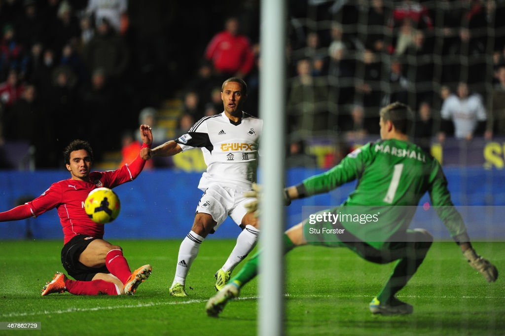 Cardiff player Fabio (l) and keeper David Marshall look on as <a gi-track='captionPersonalityLinkClicked' href=/galleries/search?phrase=Wayne+Routledge&family=editorial&specificpeople=206672 ng-click='$event.stopPropagation()'>Wayne Routledge</a> scores the opening goal during the Barclays Premier League match between Swansea City and Cardiff City at Liberty Stadium on February 8, 2014 in Swansea, Wales.