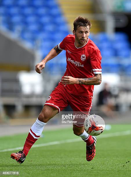 Cardiff player Guido Burgstaller in action during the friendly match between Cardiff City and VFL Wolfsburg at Cardiff City Stadium on August 2 2014...