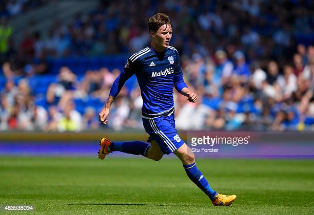 Cardiff player Joe Mason in action during the Sky Bet Championship match between Cardiff City and Fulham at Cardiff City Stadium on August 8 2015 in...
