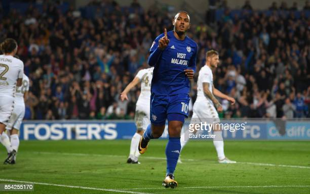 Cardiff player Kenneth Zahore celebrates after scoring the opening goal during the Sky Bet Championship match between Cardiff City and Leeds United...