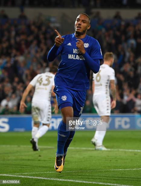 Cardiff player Kenneth Zohore celebrates after scoring the opening goal during the Sky Bet Championship match between Cardiff City and Leeds United...