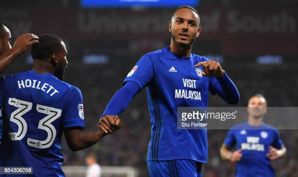 Cardiff player Kenneth Zohore celebrates his first goal with an assist from Junior Hoilett during the Sky Bet Championship match between Cardiff City...