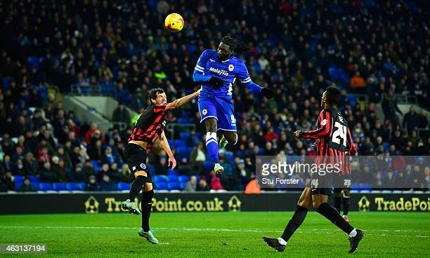 Cardiff player Kenwyne Jones heads wide during the Sky Bet Championship match between Cardiff City and Brighton Hove Albion at Cardiff City Stadium...