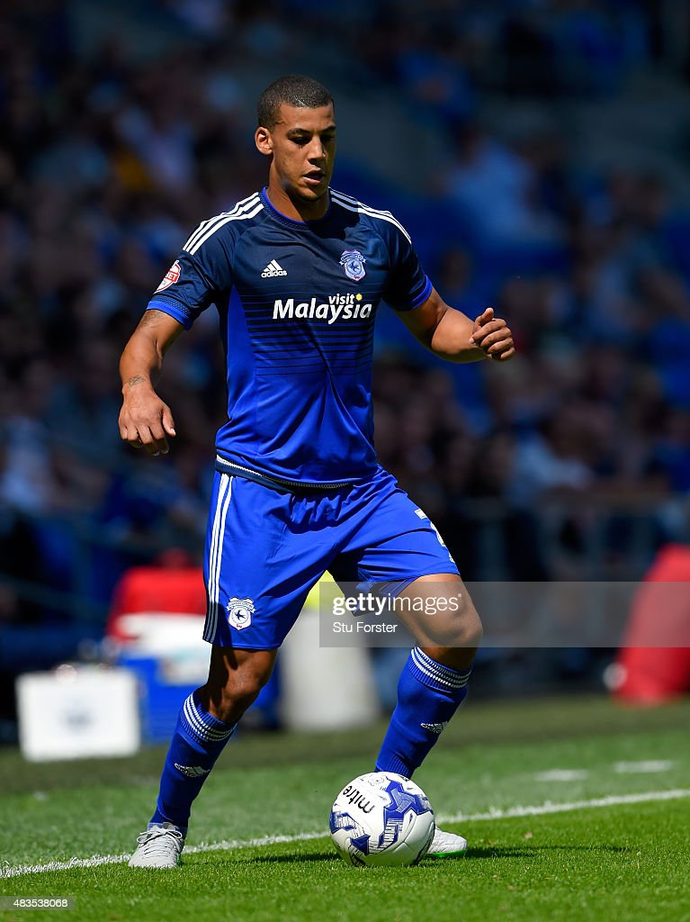 Cardiff player <a gi-track='captionPersonalityLinkClicked' href=/galleries/search?phrase=Lee+Peltier&family=editorial&specificpeople=1007594 ng-click='$event.stopPropagation()'>Lee Peltier</a> in action during the Sky Bet Championship match between Cardiff City and Fulham at Cardiff City Stadium on August 8, 2015 in Cardiff, Wales.