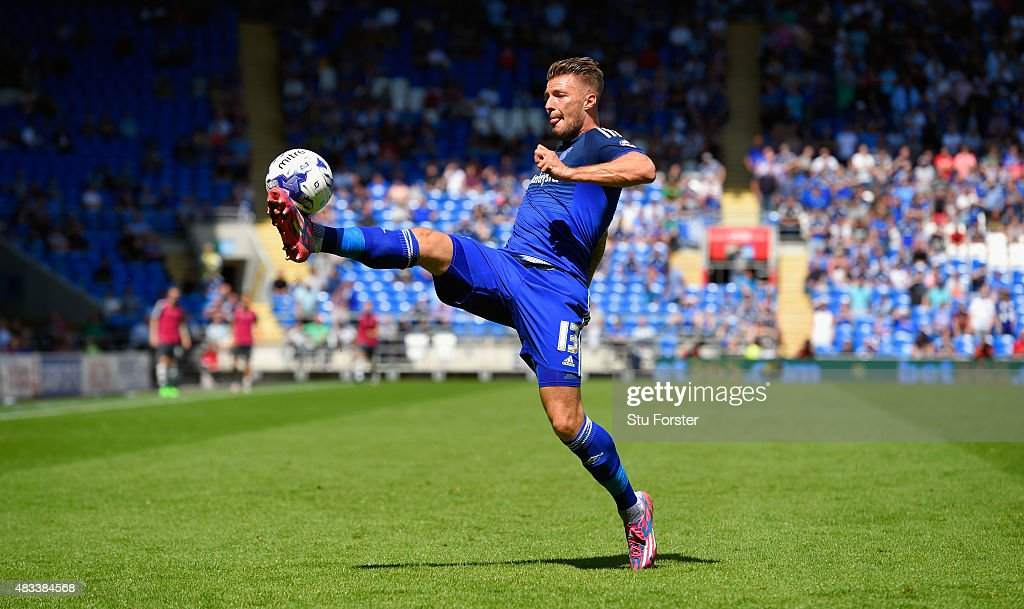 Cardiff striker <a gi-track='captionPersonalityLinkClicked' href=/galleries/search?phrase=Anthony+Pilkington&family=editorial&specificpeople=5359752 ng-click='$event.stopPropagation()'>Anthony Pilkington</a> in action during the Sky Bet Championship match between Cardiff City and Fulham at Cardiff City Stadium on August 8, 2015 in Cardiff, Wales.