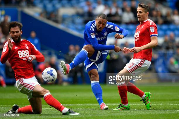 Cardiff striker Kenneth Zohore gets in a shot during the Sky Bet Championship match between Cardiff City and Nottingham Forest at Cardiff City...
