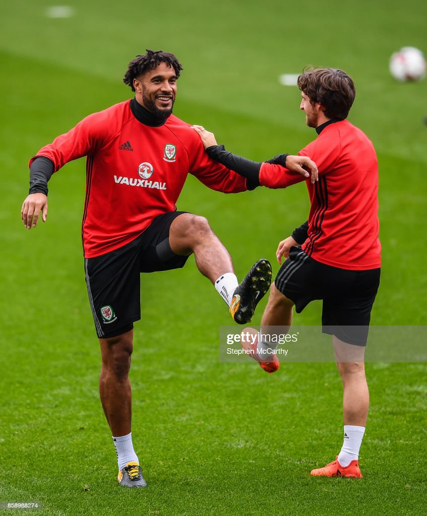 Cardiff , United Kingdom - 8 October 2017; Ashley Williams, left, and Joe Allen of Wales during squad training at Cardiff City Stadium in Cardiff, Wales.