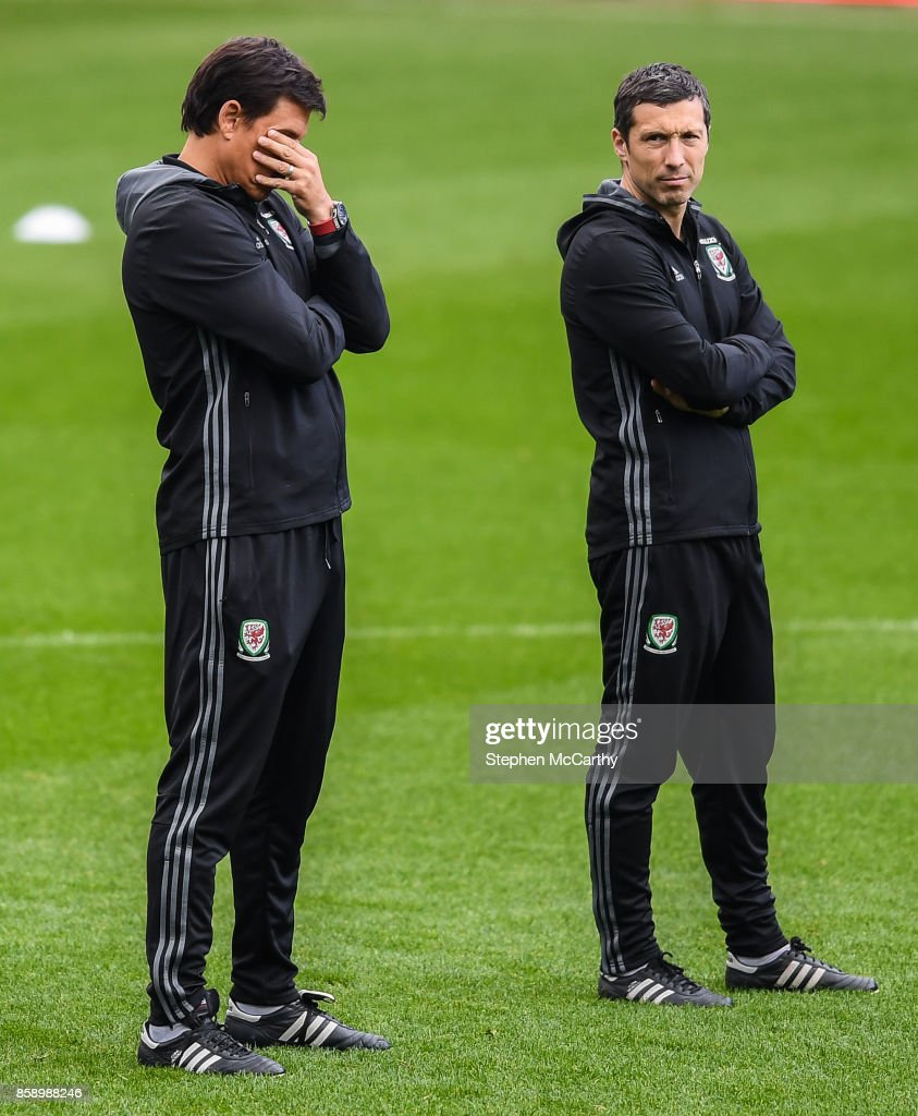 Cardiff , United Kingdom - 8 October 2017; Wales manager Chris Coleman, left, during squad training at Cardiff City Stadium in Cardiff, Wales.