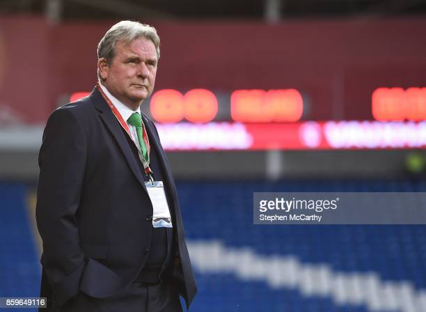 Cardiff United Kingdom 9 October 2017 Republic of Ireland assistant coach Steve Walford during the FIFA World Cup Qualifier Group D match between...